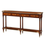 A burl lattice parquetry, brass mounted console table